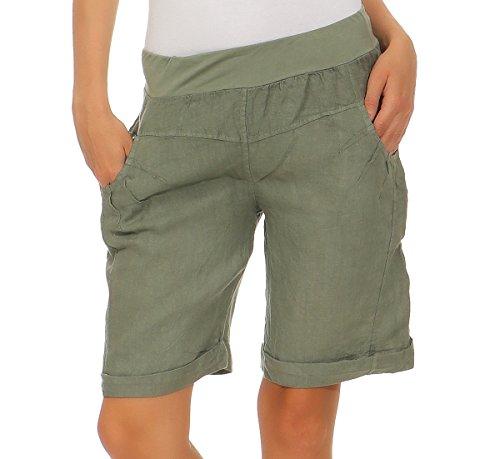 Mississhop 276 Damen Leinenshorts Bermuda lockere Kurze Hose Freizeithose 100% Leinen Shorts Elegante Haremshose mit Knöpfen Sommer Strand Oliv XL