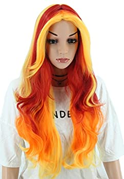 Topcosplay Womens Wigs Long Wave Devil Fire Wig Ombre Colorful Wigs Halloween Costume Cosplay Party Wig Red Orange Yellow