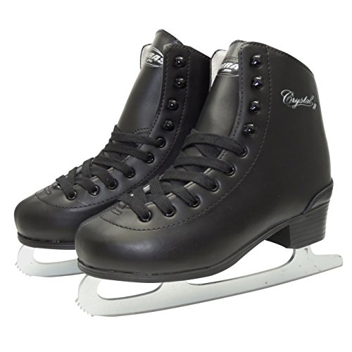 Zairas Crystal II F-130 Figure Skating Shoes, Black, 7.5 inches (19.0 cm)