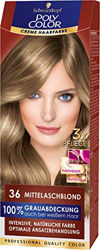 SCHWARZKOPF POLY COLOR Creme Haarfarbe Coloration 36 Mittelaschblond, 1er Pack (1 x 115 ml)