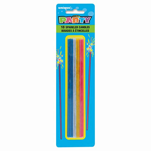 Unique Party 1911C - Sparkle Birthday Candles, Assorted Pack of 18
