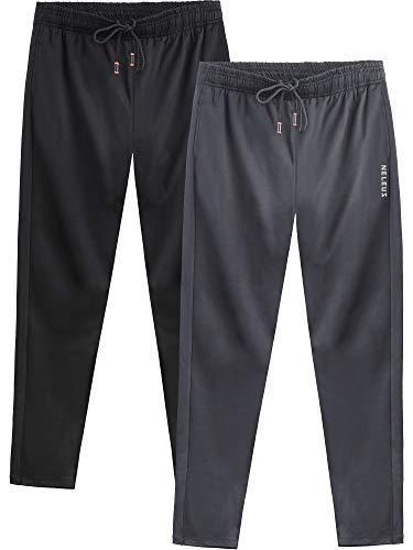 Neleus Men's 2 Pack Athletic Workout Running Pants,7006,Black,Grey,XL,EU 2XL