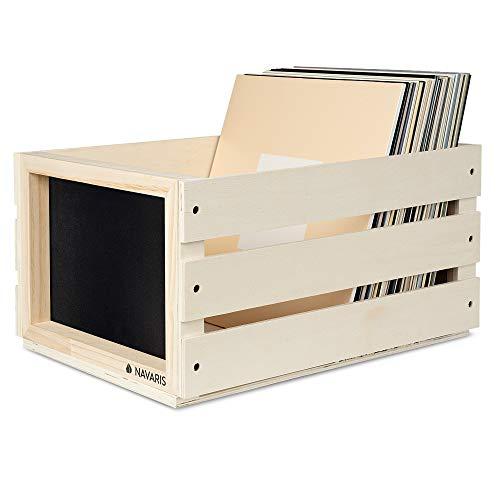 Navaris Holz Schallplatten Kiste mit Kreidetafel - 43,2 x 30,6 x 23cm - für bis zu 80 LP Platten - Vinyl Aufbewahrung Holzkiste - Hellbraun