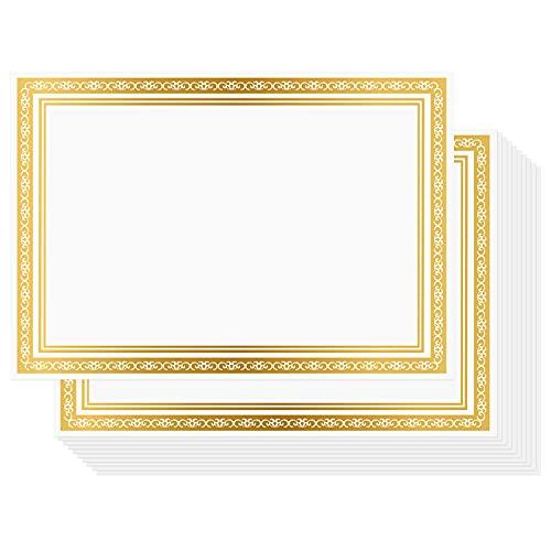 Belle Vous Carta per Diplomi e Certificati Bianca (50pz) - Carta Pergamena A4 per Stampanti con Bordo in Lamina d'Oro - Fogli di Carta Pergamena per Stampante Laserjet per Lavoro, Laurea e Diplomi