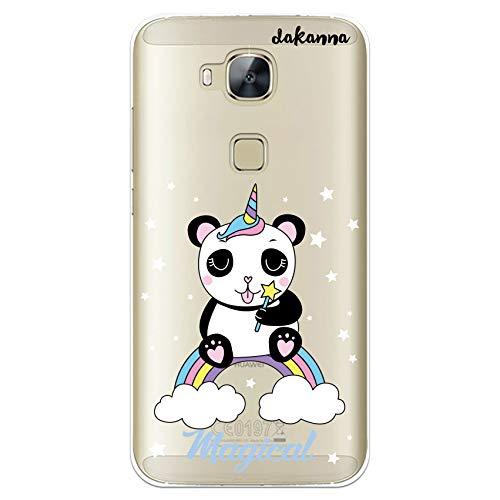 dakanna Funda Compatible con [Huawei G8 - GX8] de Silicona Flexible, Dibujo Diseño [Panda Unicornio Magico], Color [Fondo Transparente] Carcasa Case Cover de Gel TPU para Smartphone