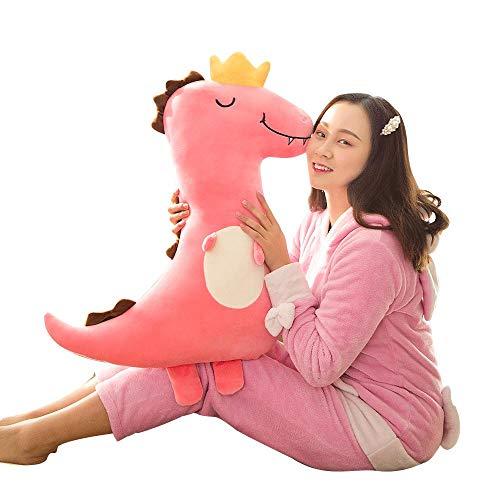 Bedom wallpaper Muñeca de peluche con corona de dientes de dinosaurio de peluche, muñeca de trapo de muñeca linda para niños y niñas regalos de cumpleaños rosa-X_55 cm