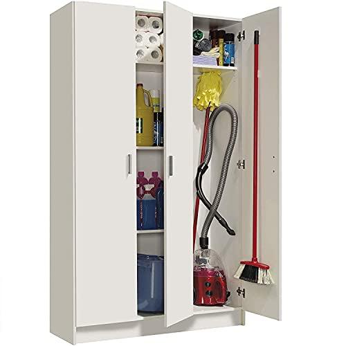 Mediawave Store - Armario con 3 puertas y 4 estantes estantería escobero 240824 mueble multiusos de madera MDF 109 x 37 x 180 cm