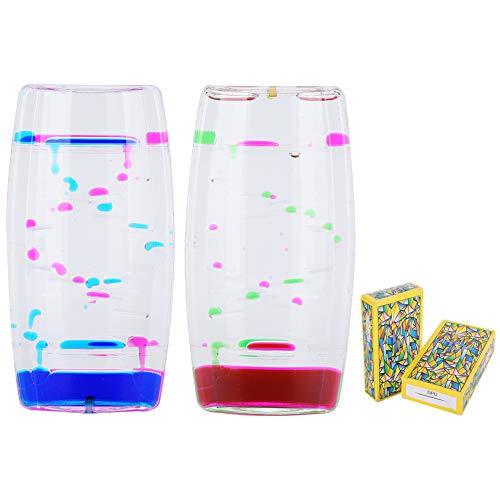 Fydun 2 szt. Liquid Motion Bubbler timer, 2 kolory, klepsydra timer, warkocze, zabawka relaksacyjna na biurko dla dzieci, nastolatków dorosłych