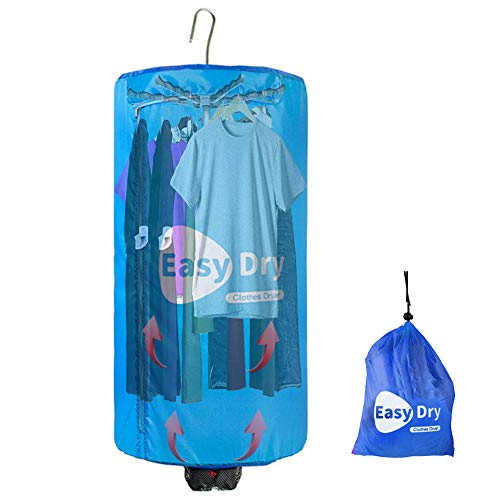 Dryer-EJOYDUTY 500W Schnell Trocknender Tragbarer Beheizter Wäschetrockner, Geeignet für alle Stoffe, Faltbarer Design Traveller Kleiderbügel, mit Timer,Blau