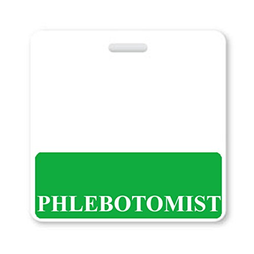 PHLEBOTOMIST Badge Buddy - Heavy Duty Horizontal Badge Buddies for Phlebotomy Technicians - Spill & Tear Proof Cards - 2 Sided USA Printed Quick Role Identifier ID Tag Backer by Specialist ID