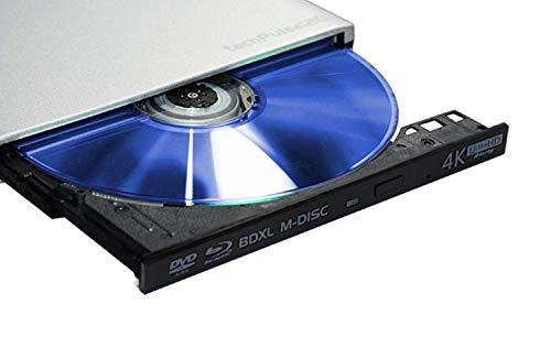 techPulse120 UHD Externe 4k 3D M-Disc BDXL USB 3.0 & Type C Connexion Lecteur Blu-Ray Graveur Superdrive UltraSlim UltraHD Lecteur BD DVD CD Ultra pour Ordinateur Portable Ultrabook Windows Mac OS