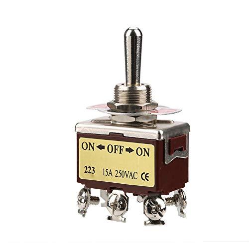 Interruttore a levetta a breve termine 15A 250V AC ON-OFF-ON Interruttore a levetta momentaneo a 3 posizioni, Interruttore a bilanciere a doppio reset a 6 pin 12mm