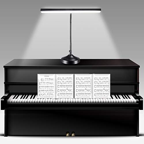 NovoLido - 10W Lampe de bureau LED Piano Light avec Base et Pince Interchangeable, 2 en 1 Lampe de...