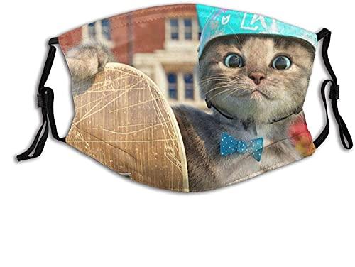 CDKZ Funny Cat Will Scooter Mascarilla facial para exteriores, bolsillo lavable, reutilizable, pasamontañas