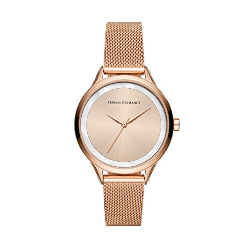 Armani Exchange Damen Analog Quarz Uhr mit Edelstahl Armband AX5602
