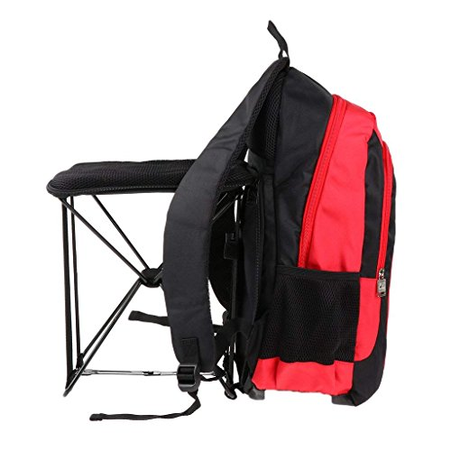 MIMI KING Stuhl Rucksack mit Zurück Eingebautem Klappstuhl Für Outdoor 47L Leichte Sport Reisen Wandern Camping Rucksack Bergsteigen Trekking Rucksack 47 * 25 * 32 cm,Red