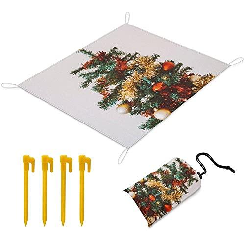 Manta Picnic 170x145 cm Alfombra de Playa con 1 Bolsas y 4 Clavos Fijos Impermeable Plegable Camping Accesorios para la Playa Camping y Picnic - árbol de Navidad