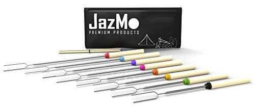 JazMo Premium Products Marshmallow Roasting Sticks 32 Inch Extendable Forks for BBQ at The Campfire, Set of 8