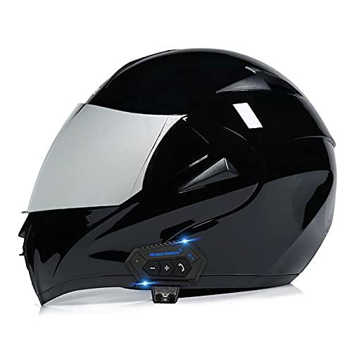 BDTOT Bluetooth Integrado Casco de Moto Modular con Doble Anti Niebla Visera Cascos de Motocicleta Dot/ECE Homologado a Prueba de Viento para Adultos Hombres Mujeres 55-62CM