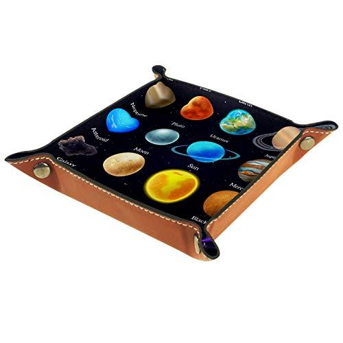 YATELI Petite boîte de Rangement, Plateau de Valet pour Homme,Corps Cosmique Mars vénus planète Soleil,Organisateur de fourre-Tout en Cuir pour Bijoux à clés