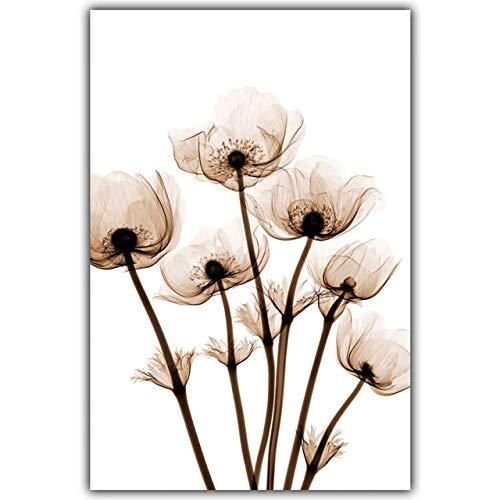 Moderne transparente Blumen Leinwand Ölgemälde Kunstdruck Poster Malerei Home Wanddekoration Einfache Dekoration 70x100cm