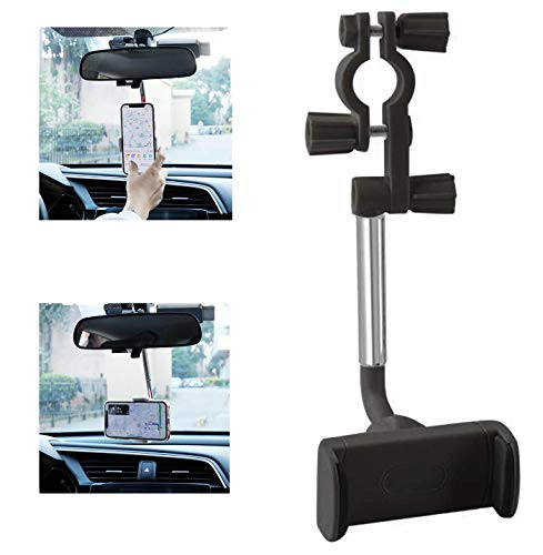 JDHDL Car Phone Holder Mount, 360 Degree Rotatable Rear View Mirror Phone Mount, Universal Adjustable Smartphone Cradle, Vehicle Back Seat Mobile Phone Holder Compatible with All Cell Phones, Black