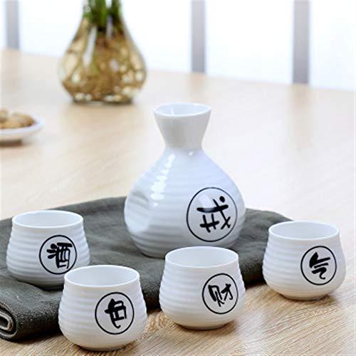 5 unids/set Sake Set Vino Vintage Vintage Botella de vino Flagón licor licor Separador Separador con tope de taza de bebidas Tazas Set (Color : B, Size : 1 Bottle 4 Cups)