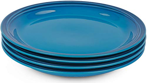 Krokori Ceramic Dinner Plates Set Round Dinnerware Plates Tableware Serving Plates Set for Cooking, Kitchen, Dinner, Banquet and Daily Use - 4-Piece ( 8.5 inches, Blue)