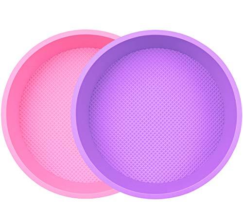 ZSWQ Molde Redondo de Silicona para Hornear Tartas, Molde de Pastel Redondos Bandeja para Pan 10 Pulgadas Juego de 2