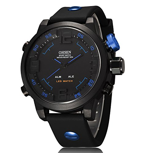 ShoppeWatch Mens LED Watch Black Silicone Band Dual Time Date Day Sport Military Blue Hands OH-249
