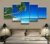 HFDSA Colores Cuadro En Lienzo Imagen Paisaje Paisaje Marino 5 Piezas HD Lienzo Arte De La Pared Imágenes Salón Decoración Modular Wall Innovador Regalo