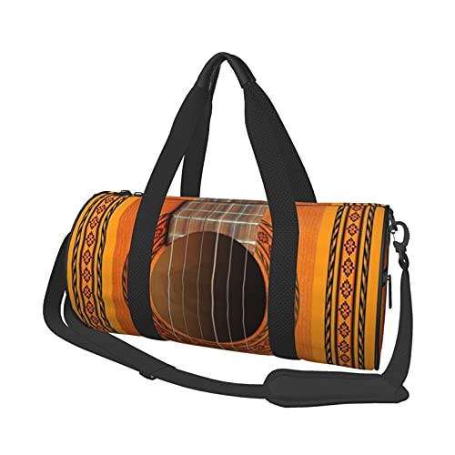 Bolsa de deporte multifunción para gimnasio, unisex, bolsa de lona para llevar al hombro, bolsa de viaje de gran capacidad, roseta clásica para guitarra