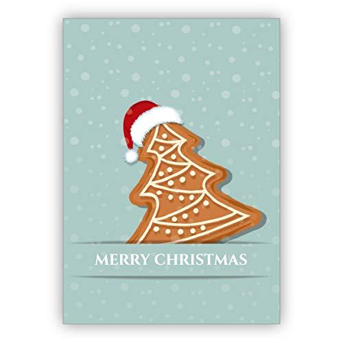 Kartenkaufrausch schattige kerstkaart met Santa koekjes in de sneeuw: Merry Christmas • als mooie wenskaart voor Kerstmis aan het einde van het jaar voor familie en bedrijf