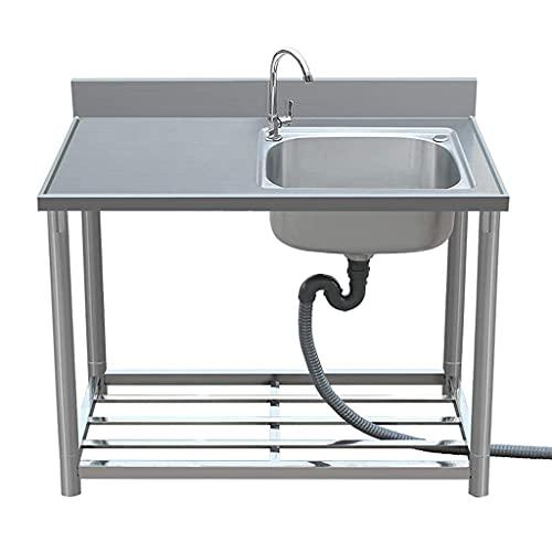 Fregadero móvil moderno, fregadero de cocina de acero inoxidable 304, banco de trabajo sanitario resistente para exteriores e interiores, fregadero comercial independiente para catering (4 tamaño