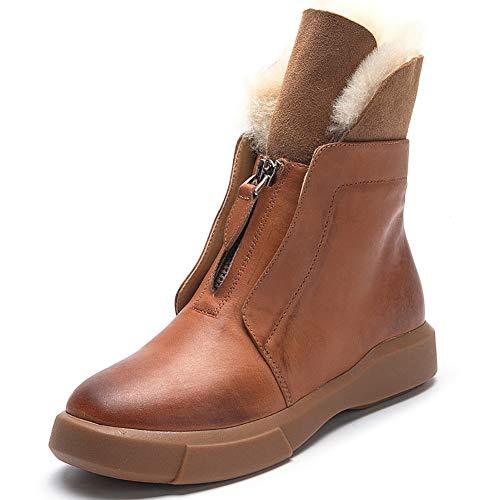XINDONG Botas de mujer elegantes de caña media acolchadas, botas cortas de lana, botas de nieve, cálidas para el trabajo o uso casual, marrón, 37
