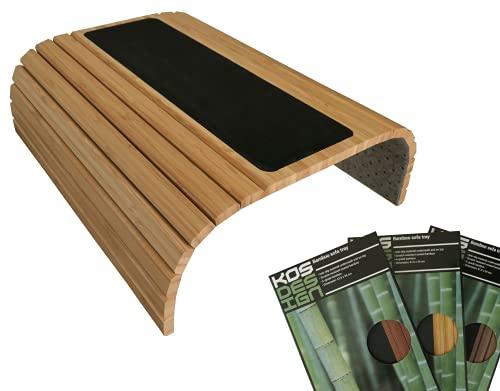 Global Quality Plateau en Bois de Bambou pour Accoudoir de Canapé Table Antidérapante pour Accoudoir Organiseur de Canape Protecteur Porte-bouteille Sous-Verre