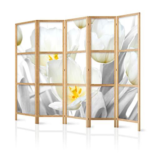 murando - Paravent XXL Blumen 225x171 cm 5-teilig einseitig eleganter Sichtschutz Raumteiler Trennwand Raumtrenner Holz Design Motiv Deko Home Office Japan b-C-0395-z-c