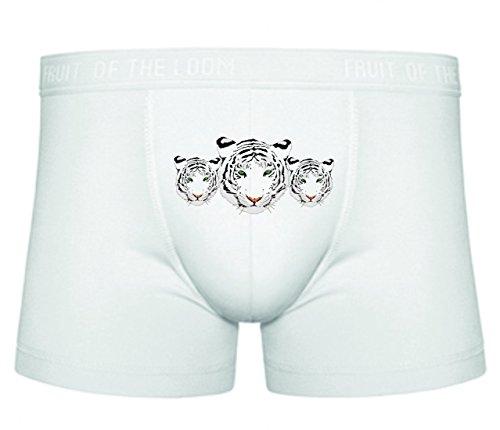 Druckerlebnis24 Boxershort Tiger- Kopf- WEIß- Bengal Tiger- Indien- Fleischfresser- GESTREIFT- WILD- Katze- Tier- Tierwelt- Gesicht- Natur S- XXL Sexy Unterhose Slip Shorts