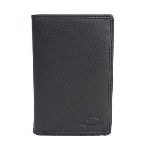 [ダブルス] 財布 メンズ 二つ折り 二つ折り財布 L字ファスナー付 本革 レザー スキミング防止 小銭入れ付き 電波遮断対策 RFID DMO-7484 ブラック