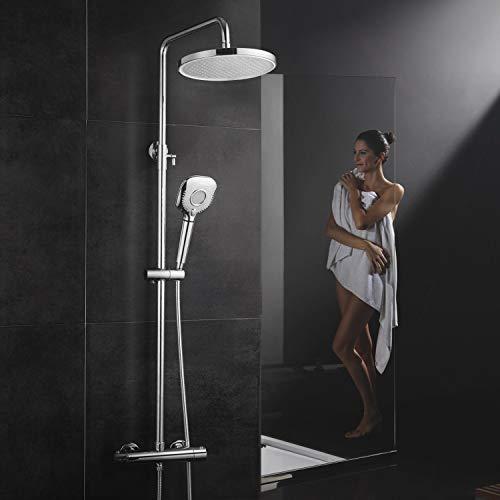 Rainsworth Duschsystem mit Thermostat, 10 Inch Runde Regendusche und Duschkopf Filter mit 3 Strahlarten, Duschstange und Thermostat Anti-Verbrühungs Duschset chrom
