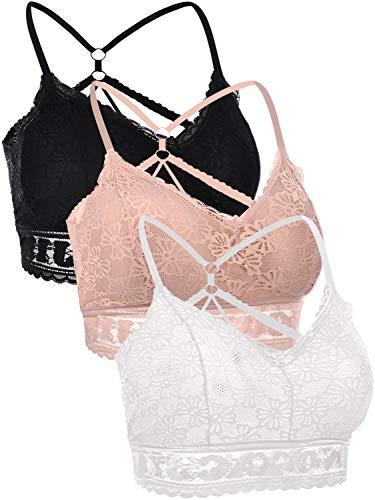 heekpek 3 Stück Damen Sport BH Gepolstert Damen Spitze BH Spaghettiträger Push up BH Sport Bra Top für Yoga Fitness-B-S
