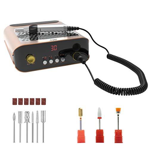 SML M2 fresa per unghie elettrica professionale in casa con aspirapolvere,limetta elettrica per manicure e pedicure di alta velocità regolabile fino a 35000 rpm con il kit