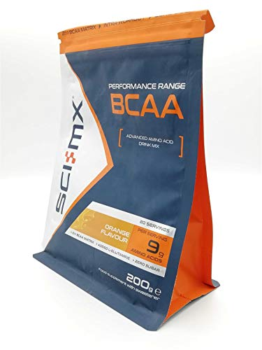 SCI-MX BCAA Orange 200g, 2:1:1 BCAAs Intra Workout Support, Micro-Refined, Vegan Friendly, for Intense or Regular Basis Exercises, State or Art Drink