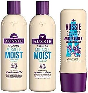 Aussie Miracle Moist for Dry Hair Shampoo 300 ML Dual Pack + 3 Minute Miracle Treatment 250 ML