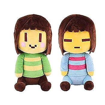 kelee Plush  2pcs Undertale Plush Figure Toy Stuffed Toy Sans Papyrus Chara Frisk Flowey Temmie Asriel Toriel Lancer Ralsei Undyne Doll for Children 9.8  -14.1     C-Chara&Frisk