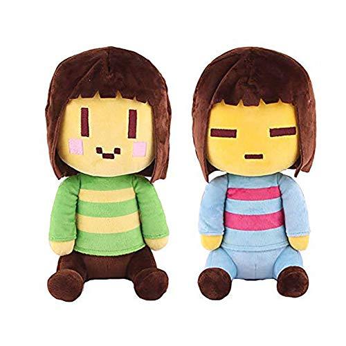 kelee Plush: 2pcs Undertale Plush Figure Toy Stuffed Toy Sans Papyrus Chara Frisk Flowey Temmie Asriel Toriel Lancer Ralsei Undyne Doll for Children(9.8''-14.1'') (C-Chara&Frisk)