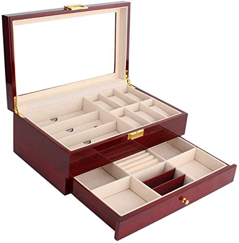 XLYYHZ Watch Box 2 Layers 6 Slots Wooden Jewellery Watches Display Lockable Glass Lid Storage Box with Jewelry Drawer Red Suit for Watches, Cuff Links and Other Stuff (Color : Red, Size : 30x20x13cm)