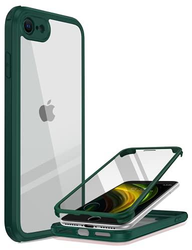 Miracase 360 Grad Hülle kompatibel mit iPhone SE 2020 / iPhone 8, Ganzkörper Schutzhülle mit eingebauter Glas Bildschirmschutzfolie, Stoßfeste Fullbody Handyhülle, Grün
