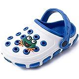 techcity Boys Girls Cute Cartoon Clogs Beach Pool Water Garden Shoes Kids Slides Sandals Summer Slippers White-Blue