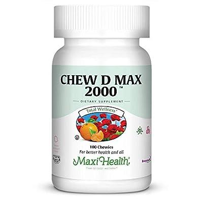 """Maxi Health Chew-D-Max -""""2000 IU"""" Vitamin D3 - Bubble Gum Flavor"""